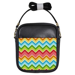 Colorful Background Of Chevrons Zigzag Pattern Girls Sling Bags by Simbadda