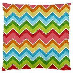 Colorful Background Of Chevrons Zigzag Pattern Large Cushion Case (two Sides) by Simbadda