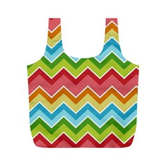 Colorful Background Of Chevrons Zigzag Pattern Full Print Recycle Bags (m)  by Simbadda