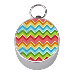 Colorful Background Of Chevrons Zigzag Pattern Mini Silver Compasses by Simbadda