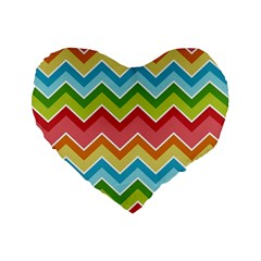 Colorful Background Of Chevrons Zigzag Pattern Standard 16  Premium Flano Heart Shape Cushions by Simbadda