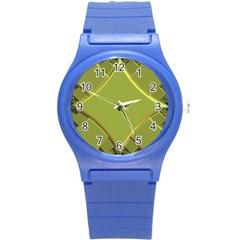 Fractal Green Diamonds Background Round Plastic Sport Watch (s) by Simbadda