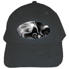 Fractal Black Liquid Art In 3d Glass Frame Black Cap by Simbadda
