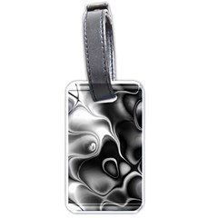 Fractal Black Liquid Art In 3d Glass Frame Luggage Tags (one Side)  by Simbadda