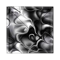Fractal Black Liquid Art In 3d Glass Frame Acrylic Tangram Puzzle (6  X 6 ) by Simbadda