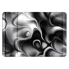 Fractal Black Liquid Art In 3d Glass Frame Samsung Galaxy Tab 8 9  P7300 Flip Case by Simbadda