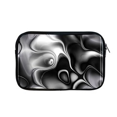 Fractal Black Liquid Art In 3d Glass Frame Apple Macbook Pro 13  Zipper Case by Simbadda