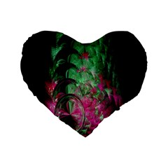 Pink And Green Shapes Make A Pretty Fractal Image Standard 16  Premium Flano Heart Shape Cushions by Simbadda