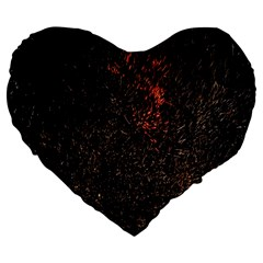 July 4th Fireworks Party Large 19  Premium Flano Heart Shape Cushions by Simbadda