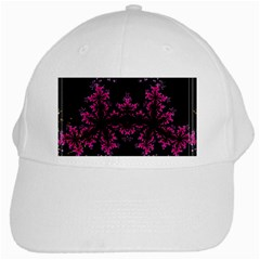 Violet Fractal On Black Background In 3d Glass Frame White Cap by Simbadda