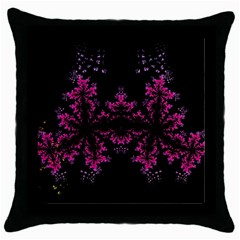 Violet Fractal On Black Background In 3d Glass Frame Throw Pillow Case (black) by Simbadda