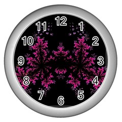 Violet Fractal On Black Background In 3d Glass Frame Wall Clocks (silver)  by Simbadda
