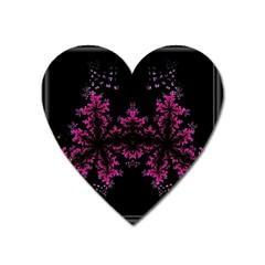 Violet Fractal On Black Background In 3d Glass Frame Heart Magnet