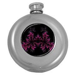 Violet Fractal On Black Background In 3d Glass Frame Round Hip Flask (5 Oz) by Simbadda