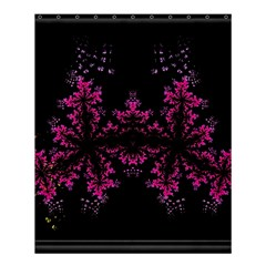 Violet Fractal On Black Background In 3d Glass Frame Shower Curtain 60  X 72  (medium)  by Simbadda