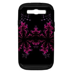 Violet Fractal On Black Background In 3d Glass Frame Samsung Galaxy S Iii Hardshell Case (pc+silicone) by Simbadda