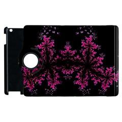 Violet Fractal On Black Background In 3d Glass Frame Apple Ipad 2 Flip 360 Case by Simbadda