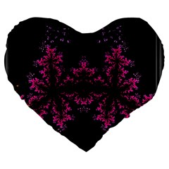 Violet Fractal On Black Background In 3d Glass Frame Large 19  Premium Heart Shape Cushions by Simbadda