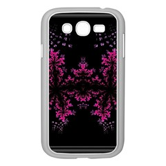 Violet Fractal On Black Background In 3d Glass Frame Samsung Galaxy Grand Duos I9082 Case (white)