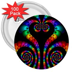 Fractal Drawing Of Phoenix Spirals 3  Buttons (100 Pack)  by Simbadda