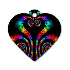 Fractal Drawing Of Phoenix Spirals Dog Tag Heart (one Side) by Simbadda