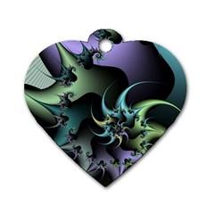 Fractal Image With Sharp Wheels Dog Tag Heart (one Side) by Simbadda