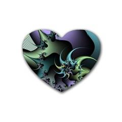 Fractal Image With Sharp Wheels Rubber Coaster (heart)  by Simbadda