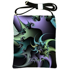 Fractal Image With Sharp Wheels Shoulder Sling Bags by Simbadda
