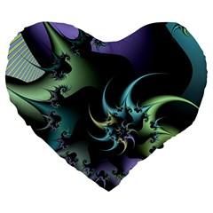 Fractal Image With Sharp Wheels Large 19  Premium Flano Heart Shape Cushions by Simbadda