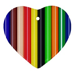 Stripes Colorful Striped Background Wallpaper Pattern Ornament (heart) by Simbadda