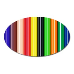 Stripes Colorful Striped Background Wallpaper Pattern Oval Magnet by Simbadda