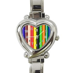 Stripes Colorful Striped Background Wallpaper Pattern Heart Italian Charm Watch by Simbadda