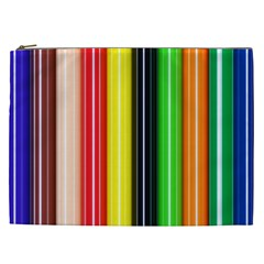 Stripes Colorful Striped Background Wallpaper Pattern Cosmetic Bag (xxl)  by Simbadda