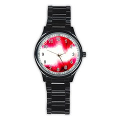 Abstract Pink Page Border Stainless Steel Round Watch by Simbadda