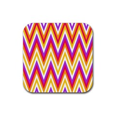 Colorful Chevrons Zigzag Pattern Seamless Rubber Square Coaster (4 Pack)  by Simbadda