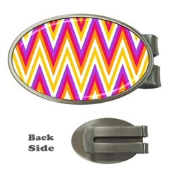Colorful Chevrons Zigzag Pattern Seamless Money Clips (oval)  by Simbadda