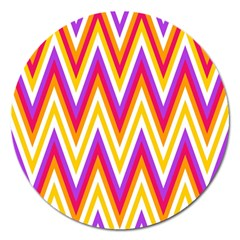 Colorful Chevrons Zigzag Pattern Seamless Magnet 5  (round) by Simbadda