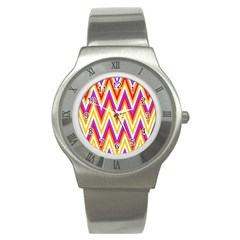 Colorful Chevrons Zigzag Pattern Seamless Stainless Steel Watch by Simbadda