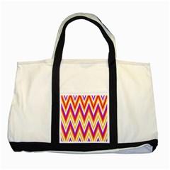 Colorful Chevrons Zigzag Pattern Seamless Two Tone Tote Bag by Simbadda
