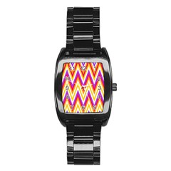 Colorful Chevrons Zigzag Pattern Seamless Stainless Steel Barrel Watch by Simbadda