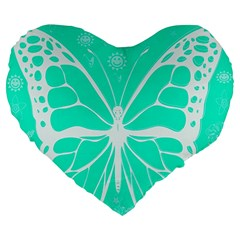 Butterfly Cut Out Flowers Large 19  Premium Heart Shape Cushions by Simbadda