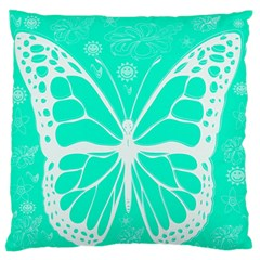Butterfly Cut Out Flowers Large Flano Cushion Case (two Sides) by Simbadda
