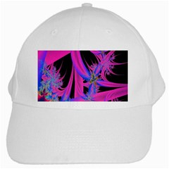 Fractal In Bright Pink And Blue White Cap by Simbadda