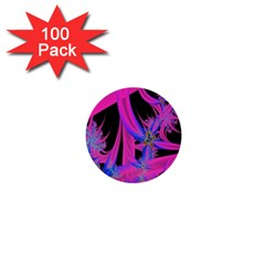 Fractal In Bright Pink And Blue 1  Mini Buttons (100 Pack)  by Simbadda