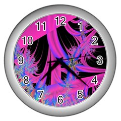 Fractal In Bright Pink And Blue Wall Clocks (silver)  by Simbadda