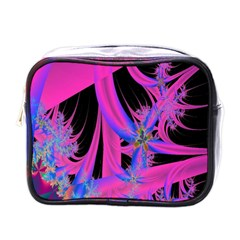 Fractal In Bright Pink And Blue Mini Toiletries Bags by Simbadda