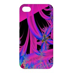 Fractal In Bright Pink And Blue Apple Iphone 4/4s Premium Hardshell Case by Simbadda