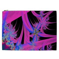 Fractal In Bright Pink And Blue Cosmetic Bag (xxl)  by Simbadda
