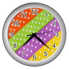 Colorful Easter Ribbon Background Wall Clocks (silver)  by Simbadda