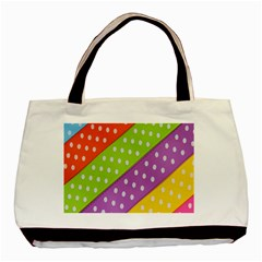 Colorful Easter Ribbon Background Basic Tote Bag (two Sides) by Simbadda